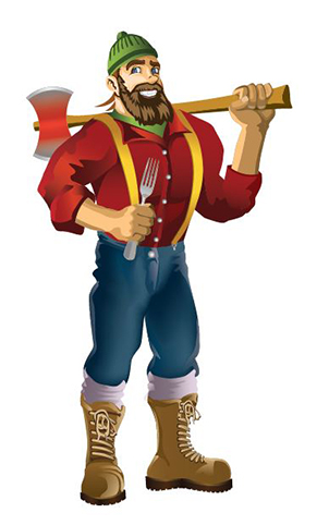 Lumberjacks Mascot - Lumberjack holding an axe and a fork.